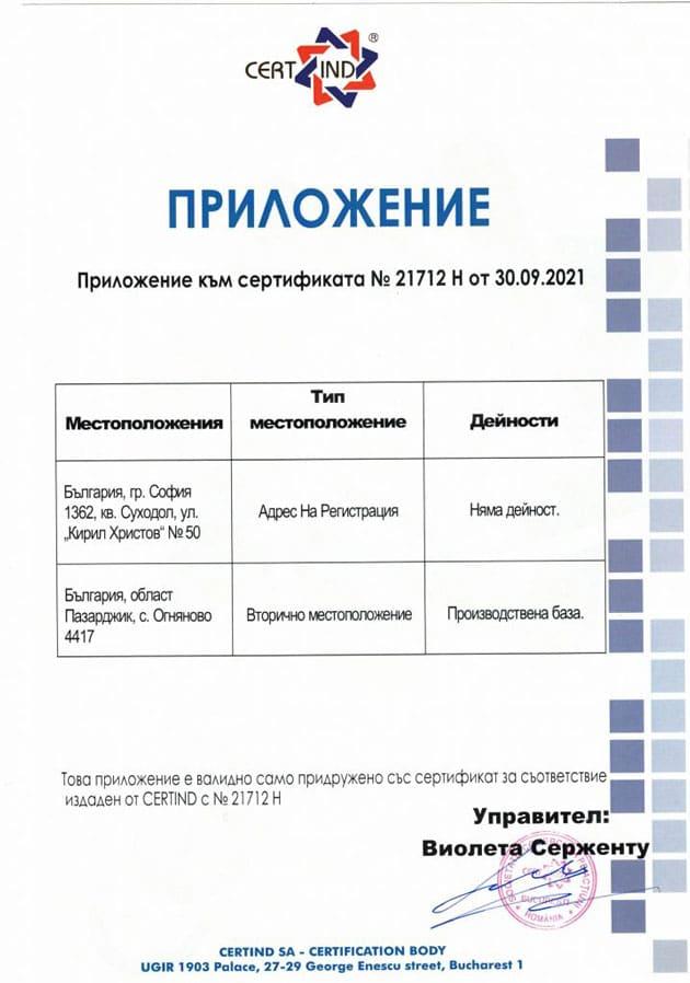 Приложение към сертификат